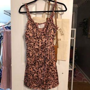 blush boutique satin leopard dress